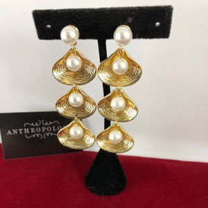 New Shining Gold Tone Sea Shells & Faux Pearls